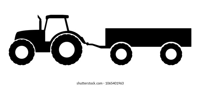 Silhouette of a tractor with a trailer.
