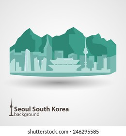 Silhouette of traditional Korean landmarks on abstract background. Seoul silhouette mountains, Korean famous buildings. Namsan tower, 63 building, post office
