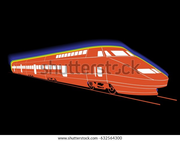 Silhouette Train Color Drawing Black Background Stock Vector