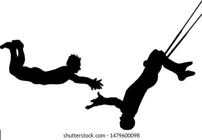 Silhouette of trapeze artists swinging through the air. Vector illustration.
