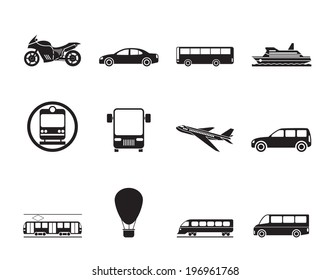 Silhouette Travel and transportation of people icons - vector icon set
