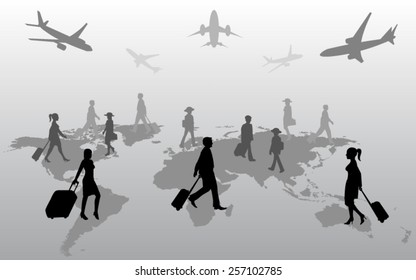 Silhouette of travelers