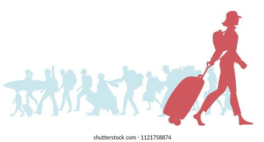 Silhouette of traveling woman with cap, backpack and trolley. Group of diverse travelers in the background