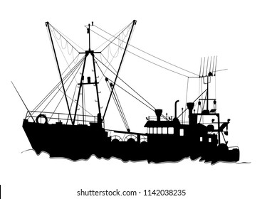 Silhouette of a trawler. Fishing boat on a white background. Flat vector.