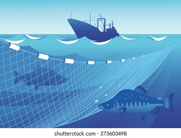 Silhouette of a trawler, fishing nets and fish a humpback salmon in the sea and sky background.