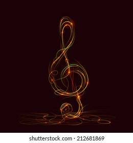 Silhouette of treble clef fire. Vector illustration