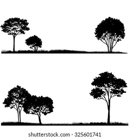 Silhouette of tree and grass, landscapes template, hand drawn vector illustration