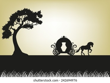 silhouette of Tree and horse-drawn carriage
