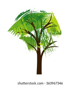 silhouette of tree with leaves from paint stains, vector illustration