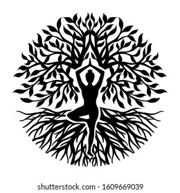 Silhouette of Tree of life with girl practicing yoga.