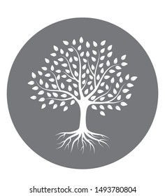 Silhouette of a tree with roots and leaves in circle. White color on gray background. Vector illustration logo.