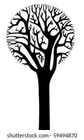 Silhouette of tree with a round crown