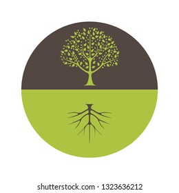 The silhouette of the tree at the top and the silhouette of the roots at the bottom of the logo.