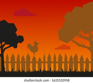 silhouette of trees, rooster on a fence at sunrise or sunset