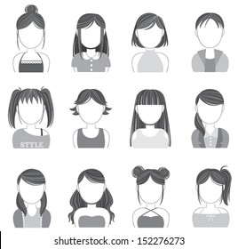 Silhouette of trendy women teen girl female hairstyle and hair cut makeup and fashion clothes icon collection set, create by vector
