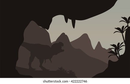 Silhouette of T-Rex in highlands with brown backgrounds