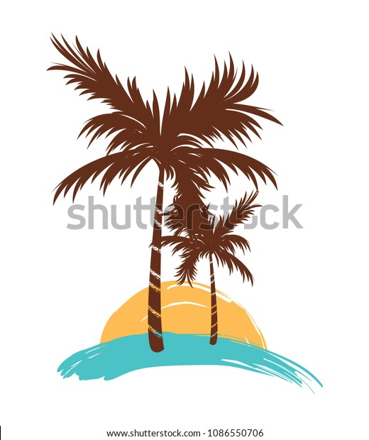 Silhouette Tropical Palm Tree