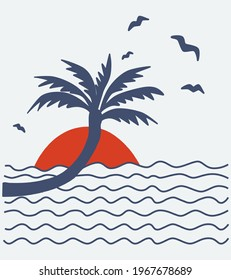 The silhouette of tropical palm trees against the background of the sun and ocean waves. Vector illustration on the theme of summer holidays.