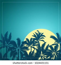 Silhouette of tropical palm with yellow moon sunrise and night sky background