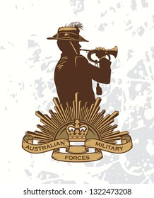 Silhouette of a trumpet soldier and sign of Australian military forces. Anzac day
