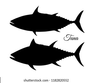 Silhouette of tuna. Hand drawn vector illustration of fish isolated on white background.