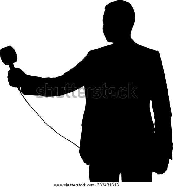 Silhouette Tv News Anchor Reporter Interviewing Stock Vector