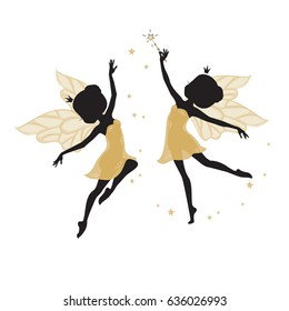 Silhouette of two beautiful fairies. Their dresses are golden in color. They are dancing. One of them has a magic wand in his hand. Hand drawn, isolated on white background.