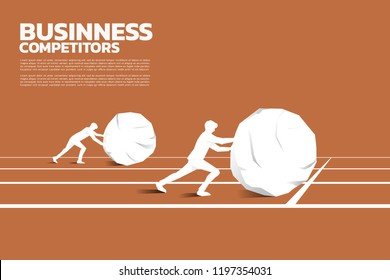 Silhouette of two businessman pushing the big rock on racing track. concept of business challenge and hard work.