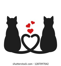 Silhouette of two cats with heart tails. Greeting card for Valentine's Day. Vector illustration for postcards, posters, banners or flyers.