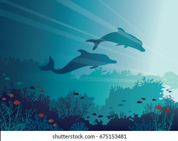 Silhouette of two dolphins and coral reef on a blue sea background. Underwater vector illustration. Marine life.