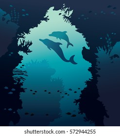 Silhouette of two dolphins and nature underwater arch with coral reef and fish. Vector illustration with marine life. Underwater seascape.