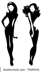 silhouette of a two fashion girls