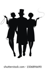 Silhouette of two flapper girls and elegant gentleman with top hat. Girl with long necklace and girl smoking a pipe. Isolated on white background