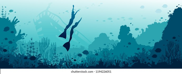 Silhouette of two freedivers, coral reef, fishes and sunken ship on a blue sea background. Vector illustration with marine wildlife. Underwater panoramic seascape image.