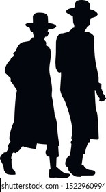 Silhouette of two Hasidic Jews walking. Religious Jew in a traditional costume. The man in the hat. Isolated vector illustration black and white color.