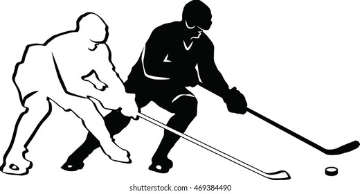 Silhouette of two hockey players. Vector image