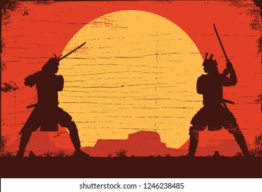 Silhouette of two Japanese Samurai sword fighting, Vector Illustration