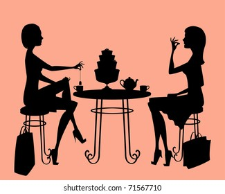 Silhouette of two ladies having a day out