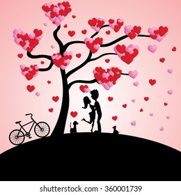 Silhouette of two lovers ,dogs and bike under a love tree.