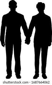 Silhouette of two man in tuxedo suit holding hands for the concept of gay marriage. Vector illustration.