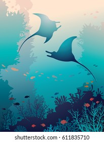 Silhouette of two mantas and coral reef with fish on a blue sea background. Underwater marine life. Vector natural illustration.