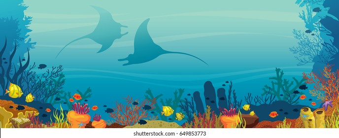 Silhouette of two mantas, coral reef and school of fish on a blue sea background. Underwater marine life. Vector illustration.