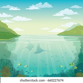 Silhouette of two mantas, coral reef, school of fish, green islands and cloudy sky. Vector summer illustration - blue sky above underwater sea with marine life.