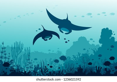 Silhouette of two mantas swimming near the coral reef and fishes on a blue sea background. Underwater marine wildlife. Vector ocean illustration.
