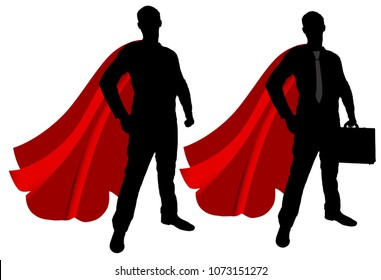 silhouette of two men, superheroes. Business concept of successful people