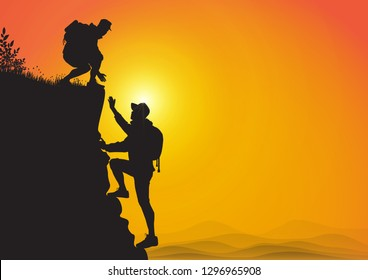 Silhouette of two people hiking climbing mountain and helping each other on golden sunrise background, helping hand and assistance concept vector illustration