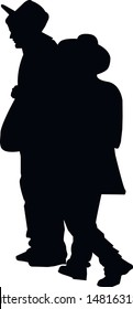 Silhouette of two religious Jews chatting along the road. A Jew in a traditional costume looks forward. Hasid in and hat. Isolated vector illustration Black on white.
