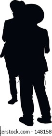 Silhouette of two religious Jews near the synagogue. A Jew in a traditional costume looks forward. Hasid in and hat. Isolated vector illustration Black on white.