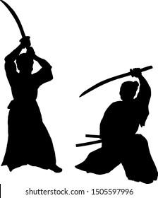 Silhouette of two samurai swordman dueling. Vector illustration.