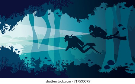 Silhouette of two scuba divers with lantern, coral reef with school of fish and underwater cave on a blue sea. Vector nature illustration.